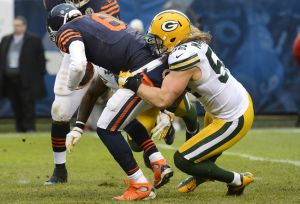 Green Bay Packers outside linebacker Clay Matthews sacks Chicago Bears quarterback Jay Cutler. Mike DiNovo-USA TODAY Sports photograph